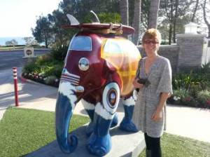My wife Cindy standing next to the CA Surfer Elephant.